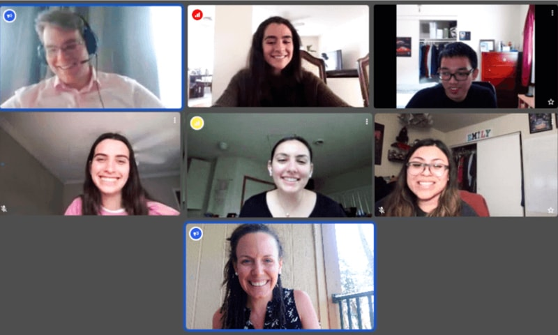 Faculty and students on a zoom call
